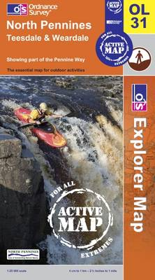 North Pennines: Teesdale and Weardale - OS Explorer Map Active Sheet OL31 (Sheet map, folded)