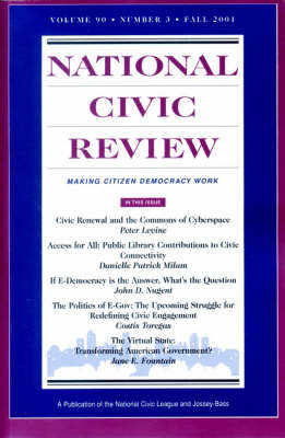 """National Civic Review"": Jb Journal Volume 90 Number 3 Fall 2001 (Paperback)"