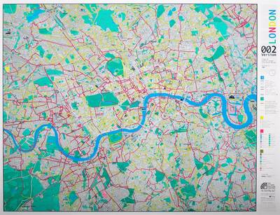 London Wall Map with Cycle Routes: Emerald/silver/blue Version 2: Magnetic - Plastic Coated Print with Magnetic Backing (magnets & Hanging Strips Supplied) (Sheet map)
