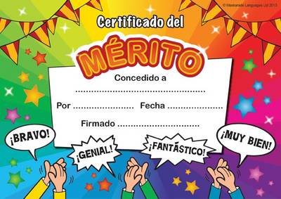 Certificate of Merit: In Spanish Language - Maskarade Languages Collection (Cards)