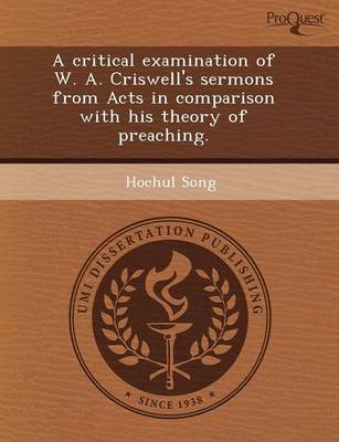 A Critical Examination of W (Paperback)