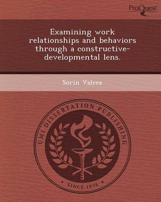 Examining Work Relationships and Behaviors Through a Constructive-Developmental Lens (Paperback)