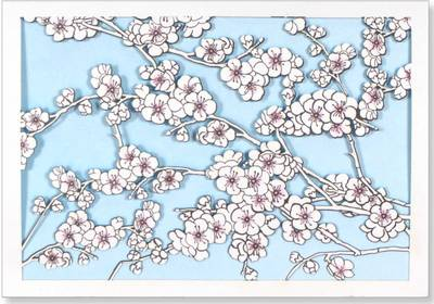 Note Card Laser Cherry Blossoms (Cards)