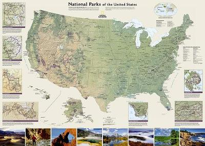 United States National Parks Flat: Wall Maps History & Nature (Sheet map)