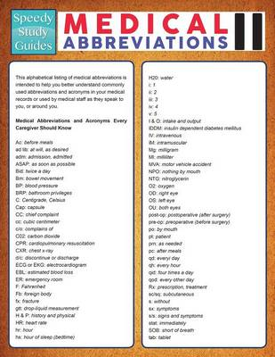 Medical Abbreviations II (Speedy Study Guide) (Paperback)