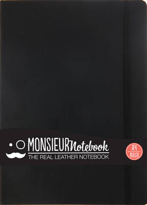 Monsieur Notebook Leather Journal - Black Ruled Large A4 (Leather / fine binding)
