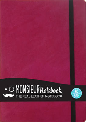 Monsieur Notebook - Real Leather A5 Pink Plain (Leather / fine binding)