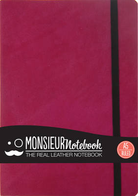 Monsieur Notebook Leather Journal - Pink Ruled Medium A5 (Leather / fine binding)