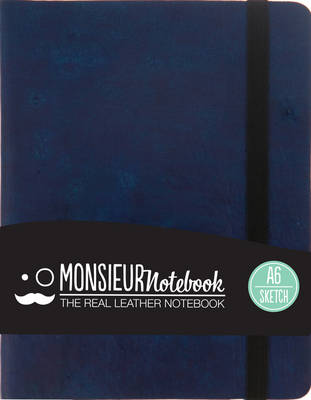 Monsieur Notebook - Real Leather Navy Sketch (Leather / fine binding)