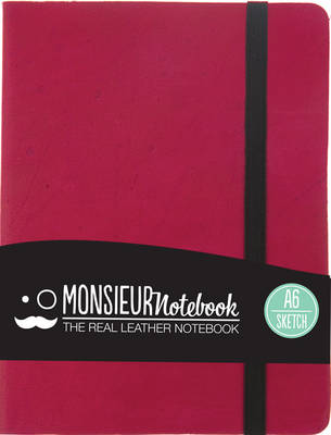 Monsieur Notebook - Real Leather A6 Pink Sketch (Leather / fine binding)