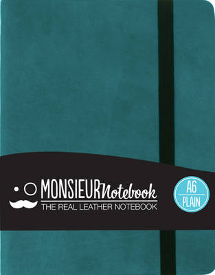 Monsieur Notebook - Real Leather A6 Turquoise Plain (Leather / fine binding)