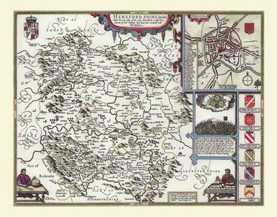 John Speeds Map of Herefordshire: Photographic Print of County Map of Herefordshire 1611 by John Speed (Sheet map, flat)