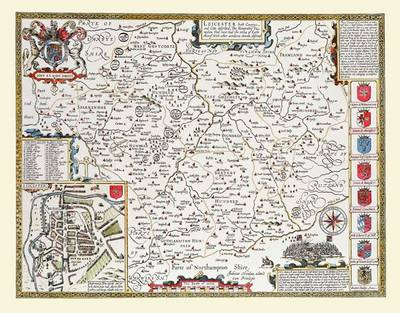 John Speeds Map of Leicestershire: Photographic Print of Map of Leicestershire 1611 by John Speed (Sheet map, flat)