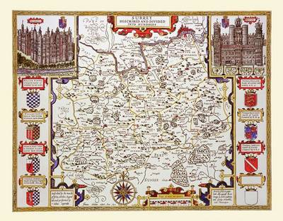 John Speeds Map of Surrey: Photographic Print of County Map of Surrey 1611 by John Speed (Sheet map, flat)