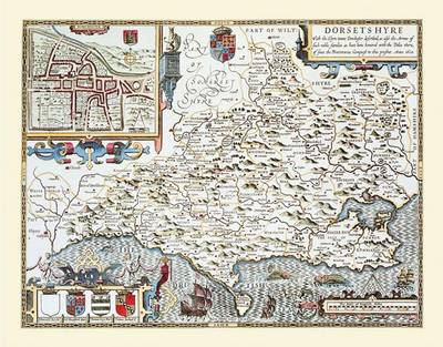 John Speeds Map of Dorsetshire: Photographic Print of County Map of Dorsetshire 1611 by John Speed (Sheet map, flat)