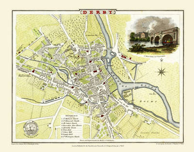 "Cole and Roper Old Map of Derby 1806: 20"" x 16"" Photographic Print of Derby (Sheet map, flat)"