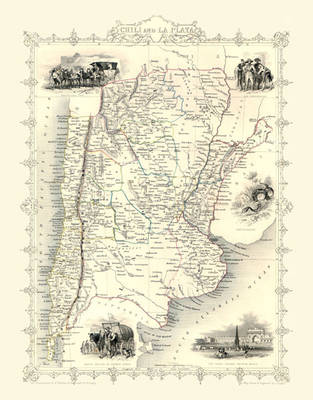 John Tallis Map of Chile 1851: Photographic Print of Map of Chile 1851 by John Tallis (Sheet map, flat)