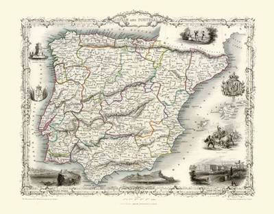 John Tallis Map of Spain and Portugal 1851: Photographic Print of Map of Spain and Portugal 1851 by John Tallis (Sheet map, flat)