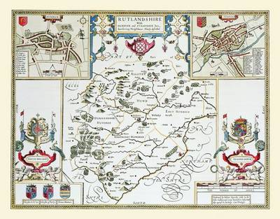 John Speeds Map of Rutlandshire 1611: Colour Print of County Map of Rutlandshire 1611 by John Speed (Sheet map, flat)