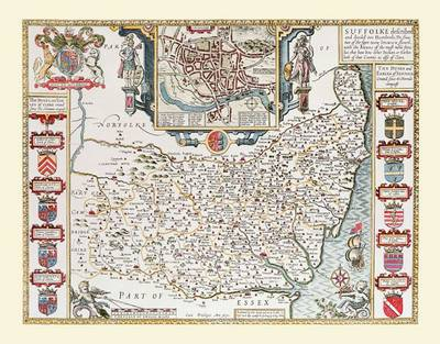 John Speeds Map of Suffolk 1611: Colour Print of County Map of Suffolk 1611 by John Speed (Sheet map, flat)
