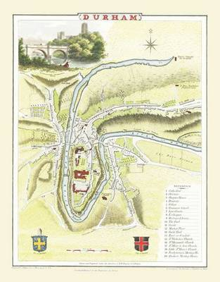 Cole and Roper Map of Durham 1804: Colour Print of City of Durham Plan 1804 by Cole and Roper (Sheet map, flat)