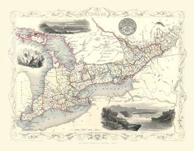 John Tallis Map of West Canada 1851: Colour Print of Map of West Canada 1851 by John Tallis (Sheet map, flat)