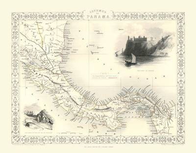 John Tallis Map of Panama 1851: Colour Print of Map of Panama 1851 by John Tallis (Sheet map, flat)
