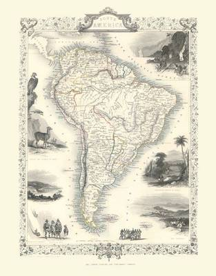 John Tallis Map of South America 1851: Colour Print of Map of South America 1851 by John Tallis (Sheet map, flat)