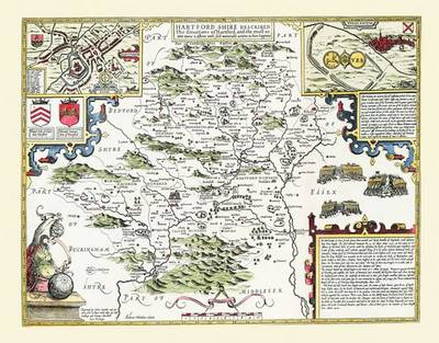 "John Speed Map of Hertfordshire 1611: 30"" x 25"" Large Photographic Poster Print of the County of Hertfordshire - England (Sheet map, rolled)"