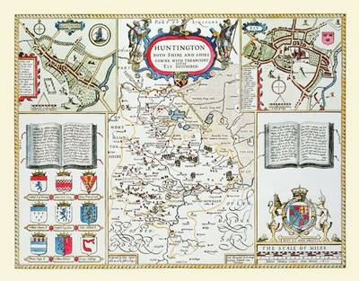 John Speeds Laminated Poster Map of Huntinghamshire 1611: Colour Laminated Poster Print of County Map of Huntinghamshire 1611 by John Speed (Sheet map, rolled)