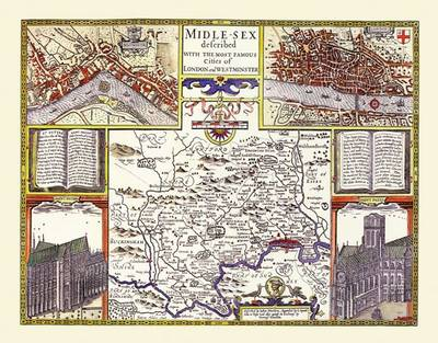 John Speed's Laminated Poster Map of Middlesex 1611: Colour Laminated Poster Print of County Map of Middlesex 1611 by John Speed (Sheet map, rolled)