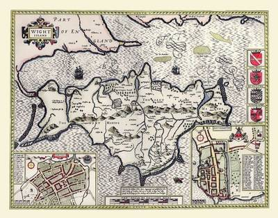 John Speeds Map of Isle of Wight 1611: Photographic Print of Map of Isle of Wight 1611 (Sheet map, flat)