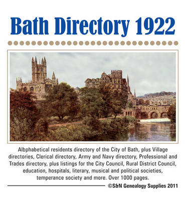 Somerset, Bath 1922 Directory (CD-ROM)